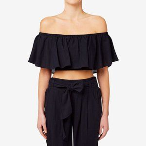 Seed Heritage Navy Frill Bodice Crop Top XS